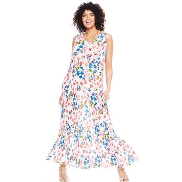 c56c9edb29de5 Woman Within Dresses | Plus Size 2x Crinkle Floral Maxi Dress 2x ...
